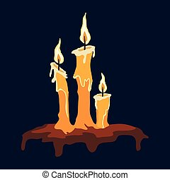 Three burning candles on a black background. Vector illustration.