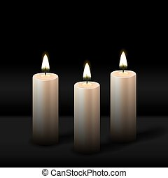 Three burning realistic pillar candle on black background