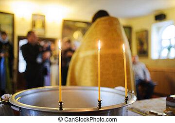 three burning thin candle
