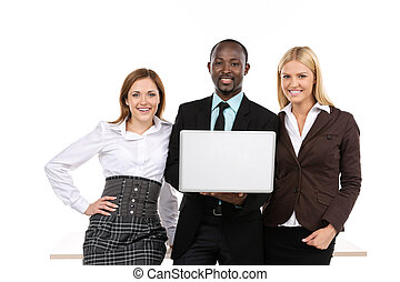 Three business people holding laptop
