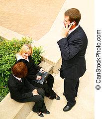 Three Business Poeple Working Outdoor