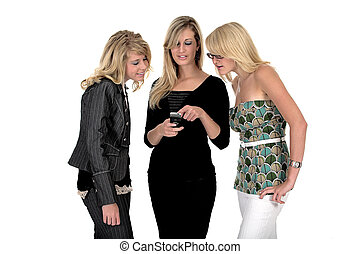 Three business woman on phone