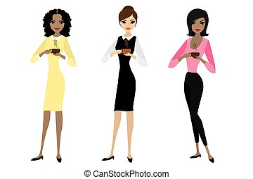 Three business woman standing and holding in hands a cup of coffee or tea