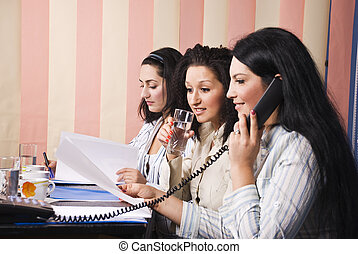 Three business women office life