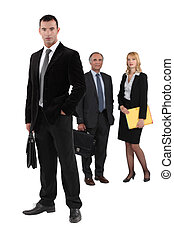 Three business workers