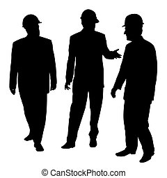 Three businessmen architects engineers or workers with protective helmet