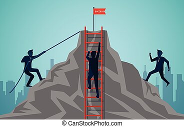 three businessmen are competing to climbing up the mountain with ropes and stairs red. Business finance success. Overcome obstacles. challenges. leadership. illustration cartoon vector
