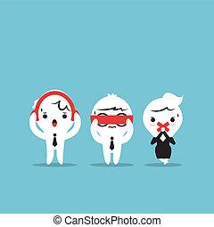 Three businessmen cartoon - Three wise monkeys. See no evil, hear no evil, speak no evil