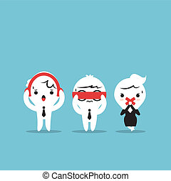 Three businessmen cartoon - Three wise monkeys. See no evil,...