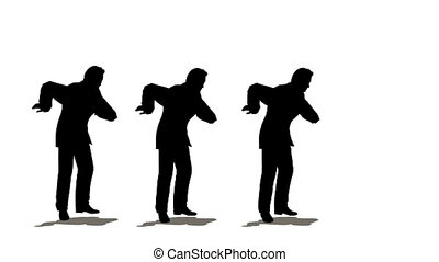 Three businessmen dancing