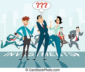 Three businessmen discussion - Vector illustration of a...