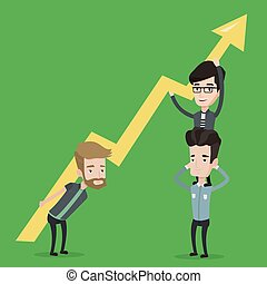 Businessmen holding arrow going up. Business people with growth graph. Business team holding zigzag arrow. Concept of partnership, success in business. Vector flat design illustration. Square layout.