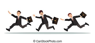 Three businessmen with a briefcase in their hand are late for work.