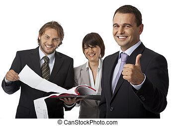 three businesspeople thumb up