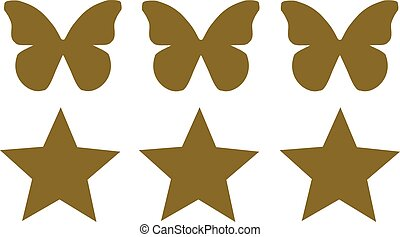 Three Butterflies with three stars