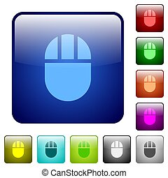 Three buttoned computer mouse color square buttons