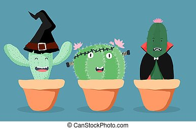 Three cactus dress as witch, ghost and Dracula for Halloween party