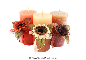 Three candle - Three large candle with the colors against...