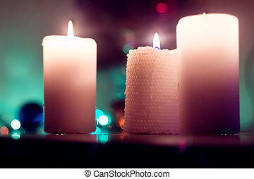 Three candles. Christmas