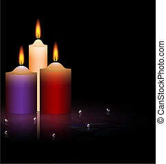 three candles - on a black background are three burning...
