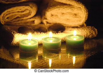 three candles - candles for a romantic massage.