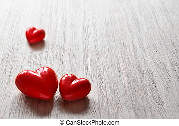 Three candy hearts for Valentine's Day.