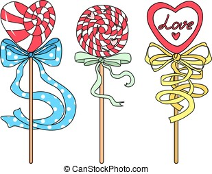 Three candy on a white background