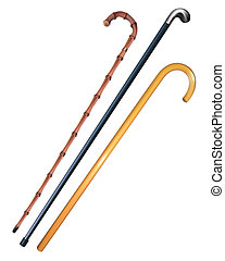 three canes to walk on a white background