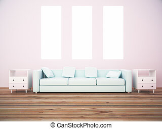 Three canvas and sofa