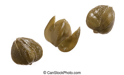 three capers isolated