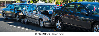 Three-car accident