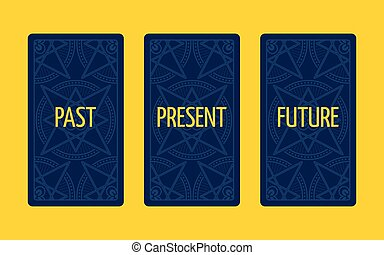 Three card tarot spread. Past, present and future