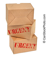three cardboard boxes againt white background, photo does...