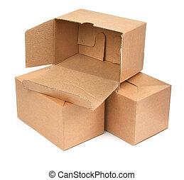three cardboard boxes againt white background, minimal...