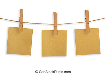 three cards of recycled paper hanging on a clothesline