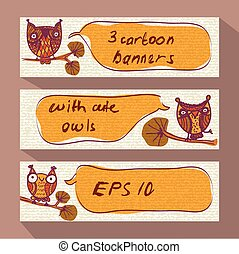 Three cartoon banners with doodle owls
