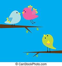 Three cartoon birds. Card.
