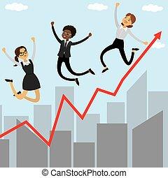 Three cartoon jumping businesswomen, growing graph