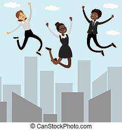 Three cartoon jumping businesswomen.