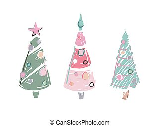 Three cartoon scribble colored christmas trees