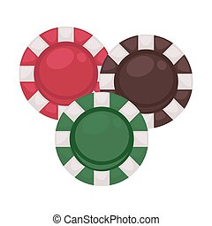 Three casino chips in red, brown and green colors isolated...