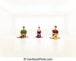 three casual people yoga class