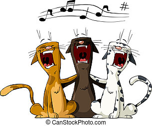 Three cat on a white background, vector illustration