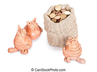 Three cats stand near to a bag of money. Section of the inheritance