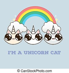 cats with a horn on the background of the rainbow.