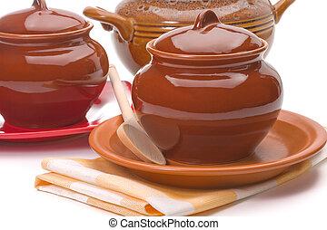 Three ceramic pans