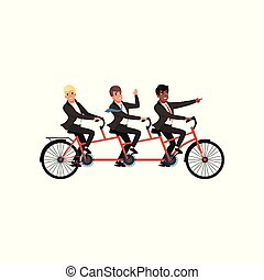Three cheerful men in black classic suits riding tandem bicycle. Business partners, team work. Cartoon people characters. Young office workers. Flat vector design