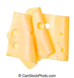 Three cheese slices isolated on white background. Top view. Flat lay. Cheese slice in air, without shadow.