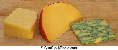 Three cheeses - A cheeseboard with cheddar, Edam and Sage...