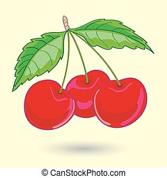 Three Cherries with Leaves